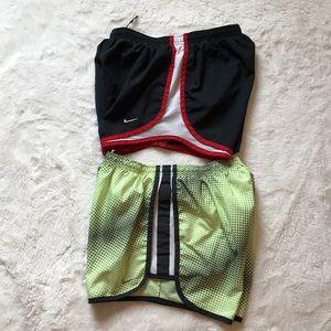 2 small Nike Tempo running shorts black yellow